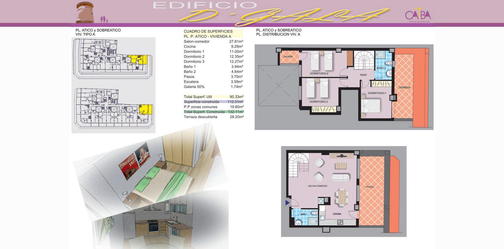 Edificio D'Gala - El Campello. Plano de ático y sobreático